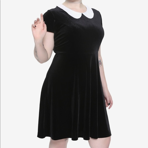 Hot Topic Dresses   Skirts - Plus Size Black Velvet White Collar Skater  Dress c25f8ff7d